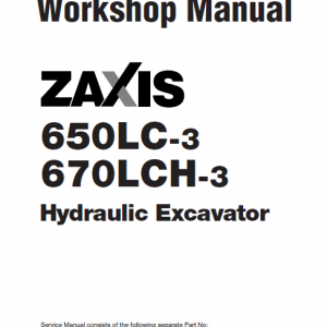 Hitachi Zx650lc-3 And Zx670lch-3 Excavator Manual