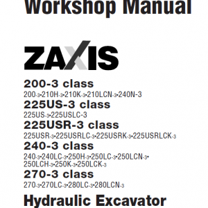 Hitachi Zaxis Zx200-3, Zx240-3 And Zx270-3 Excavator Manual