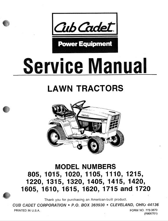 Cub Cadet 1220, 1315, 1320, 1405, 1415, 1420 Tractor Service ManualThe Repair Manual