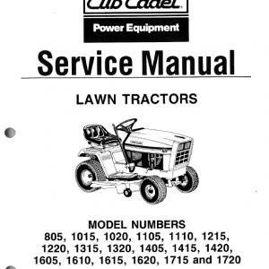 Cub Cadet 1605, 1610, 1615, 1620, 1715, 1720 Tractor Manual