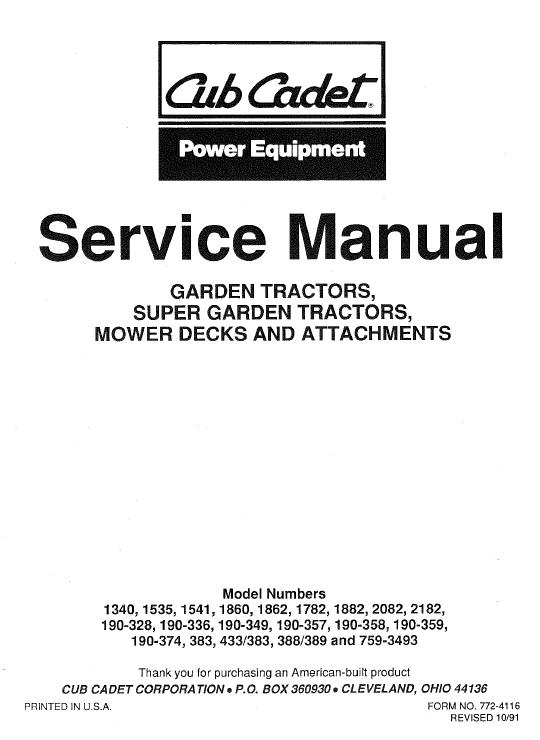 Cub Cadet 1860, 1862 And 1882 Service Manual