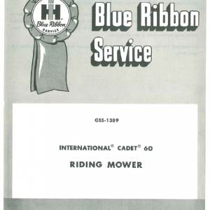 Cub Cadet Model 60 Riding Mower Service Manual
