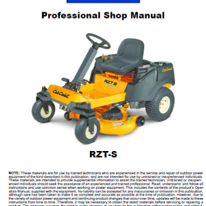 Cub Cadet RZT S Series Service Manual