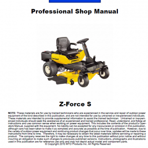 Cub Cadet Z-force S Series (2010) Service Manual