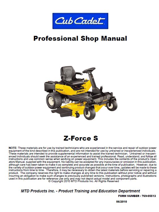 Cub Cadet Z-force S Series (2010) Service Manual