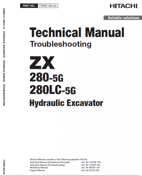 Hitachi Zx280-5g And Zx280lc-5g Zaxis Excavator Manual