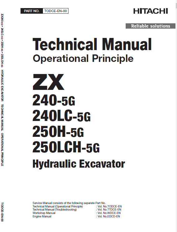 Hitachi Zx240-5g, Zx240lc-5g And Zx250lch-5g Excavator Manual