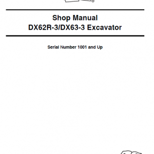 Doosan Dx62r-3 And Dx63-3 Excavator Service Manual