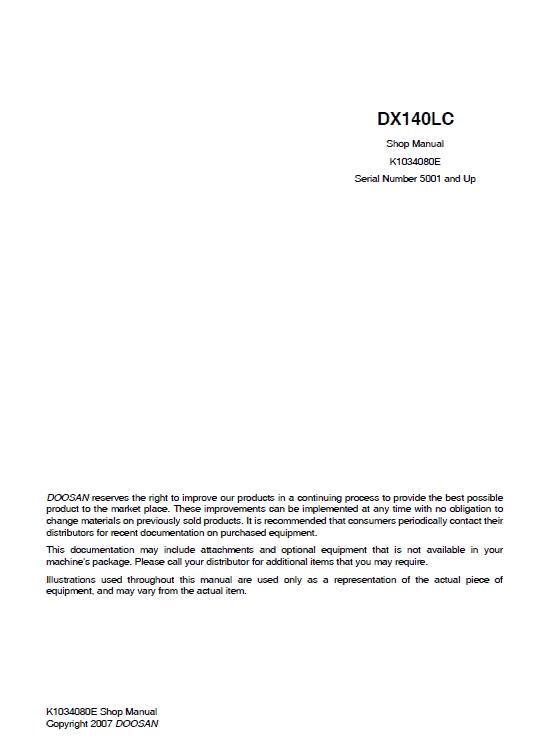Doosan Dx140 Excavator Service Manual
