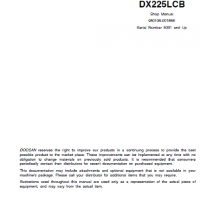 Doosan Dx210 And Dx225lcb Excavator Service Manual