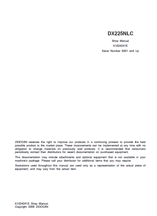 Doosan Dx225nlc Excavator Service Manual