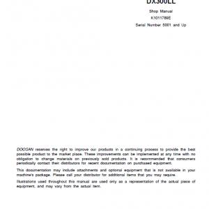 Doosan Dx300ll Excavator Service Manual