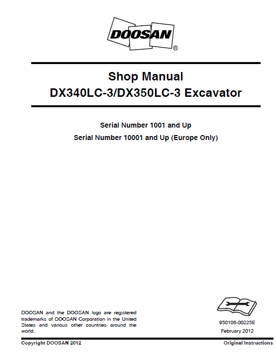 Doosan Dx340lc-3 And Dx350lc-3 Excavator Service Manual
