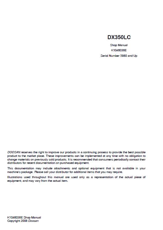 Doosan Dx350lc Excavator Service Manual