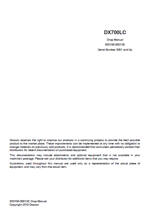 Doosan Dx700 Excavator Service Manual