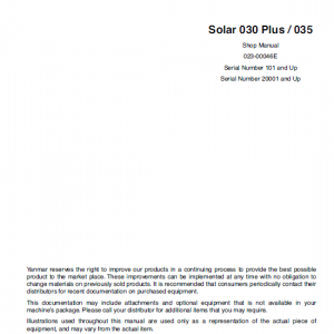 Daewoo Solar S030 Plus And S035 Excavator Service Manual
