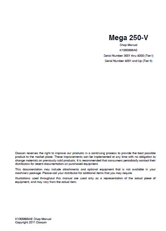 Doosan M250-v Wheel Loader Service Manual