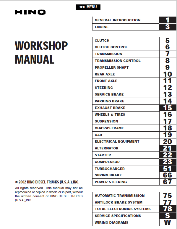 Hino Truck 2002 Service ManualThe Repair Manual