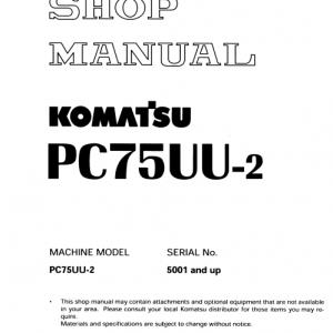 Komatsu Pc75uu-2 Excavator Service Manual