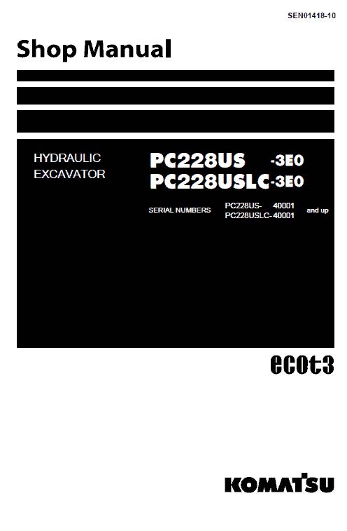 Komatsu Pc2288us-3e0 And Pc2288uslc-3e0 Excavator Manual