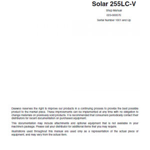 Daewoo Solar S255lc-v Excavator Service Manual
