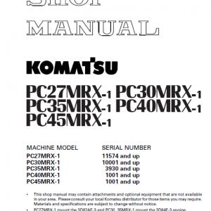 Komatsu Pc27mrx-1, Pc30mrx-1, Pc35mrx-1 Excavator Manual