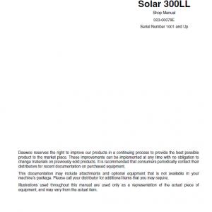 Daewoo Solar S300ll Excavator Service Manual