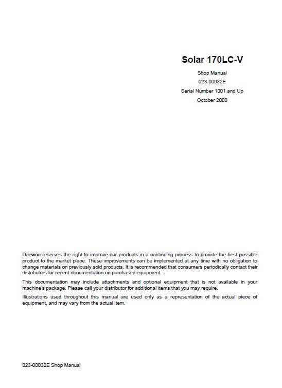 Daewoo Solar S170lc-v Excavator Service Manual