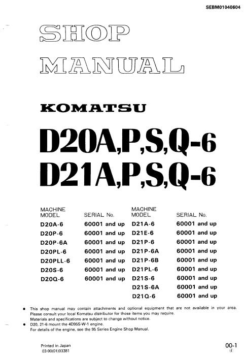 Komatsu D20pl-6, D21s-6, D21s-6a, D21q-6 Dozer Service Manual
