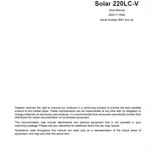 Daewoo Solar S220lc-v Excavator Service Manual