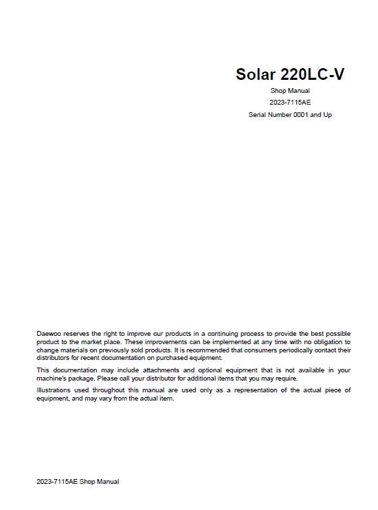 Daewoo Solar S220lc-v Excavator Service Manual