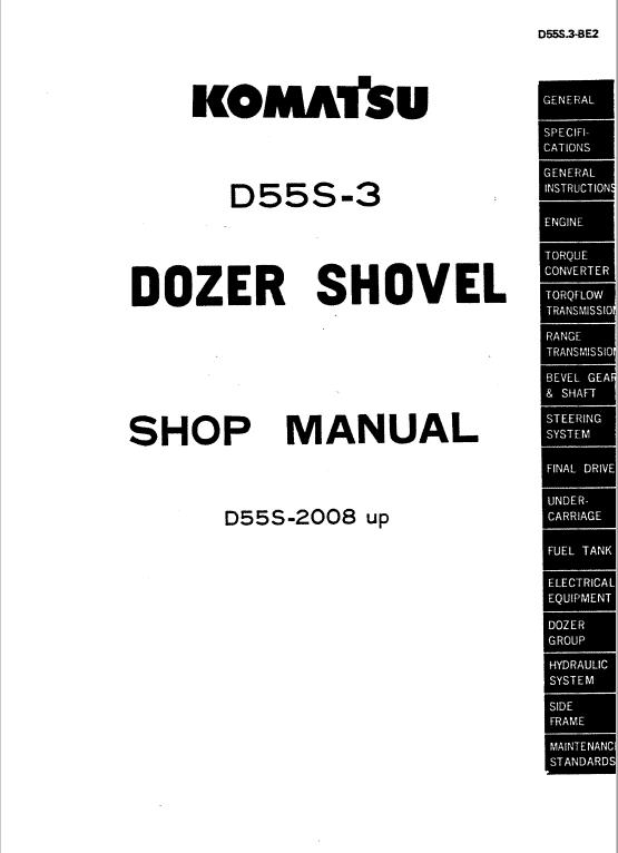 Komatsu D55s-3 Dozer Service Manual