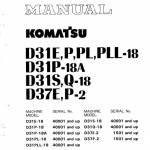 Komatsu D31p-18a, D31s-18, D31q-18, D37e-2, D37p-2 Dozer Manual