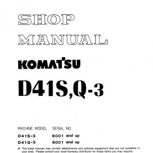 Komatsu D41s-3 And D41q-3 Dozer Service Manual
