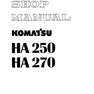 Komatsu Ha250 And Ha270 Dump Truck Service Manual