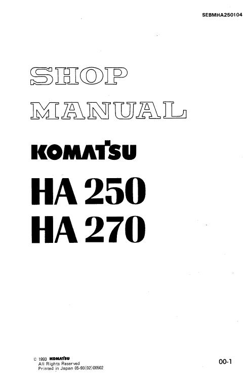 Komatsu Ha250 And Ha270 Dump Truck Service Manual