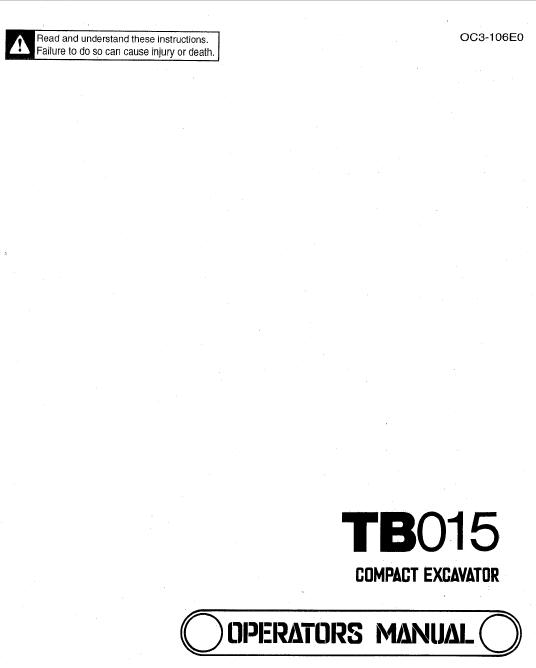 Takeuchi TB015 Compact Excavator Service Manual on