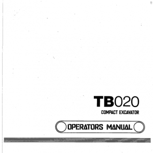 Takeuchi Tb020 Compact Excavator Service Manual