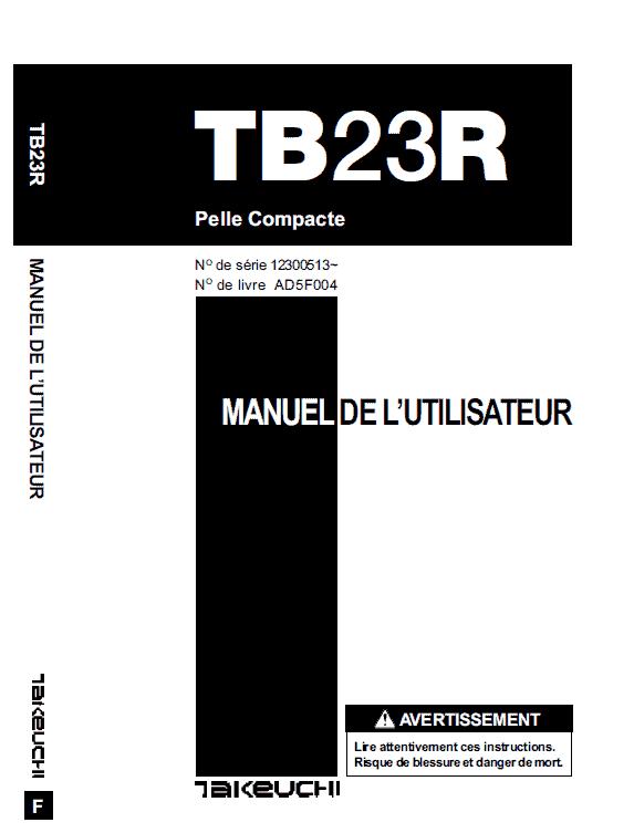 Takeuchi Tb23r Excavator Parts Manual