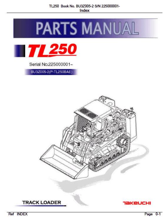 Takeuchi Tl250 Compact Loader Service Manual