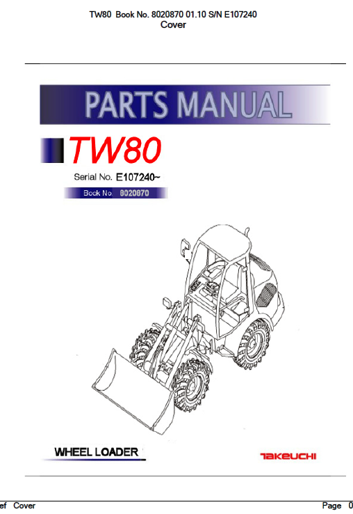 Takeuchi Tw80 Wheel Loader Service Manual