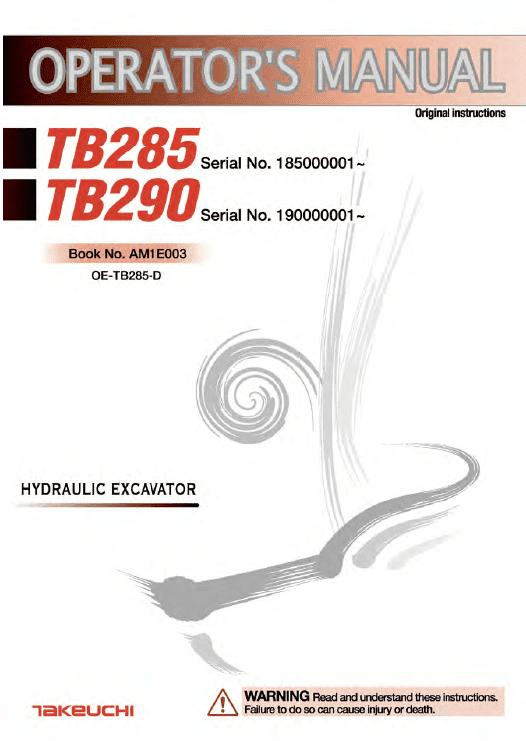 Takeuchi Tb285 Compact Excavator Service Manual