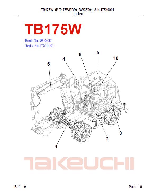 Takeuchi Tb175 And Tb175w Excavator Service Manual