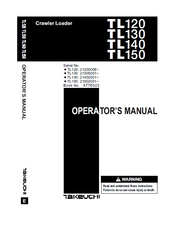 Takeuchi Tl120 Loader Service Manual