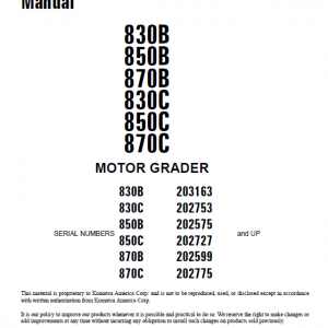 Komatsu 830c, 850c, 870c Motor Grader Service Manual