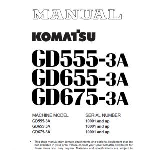 Komatsu Gd555-3a, Gd655-3a, Gd675-3a Grader Service Manual