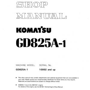 Komatsu Gd825a-1 Motor Grader Service Manual