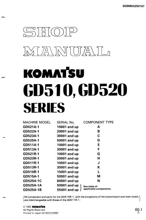 Komatsu Gd521a-1, Gd521r-1, Gd522a-1, Gd523a-1 Motor Grader Manual