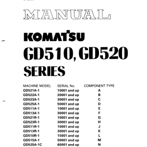 Komatsu Gd525a-1, Gd525a-1a, Gd525a-1b, Gd525-1c Grader Manual