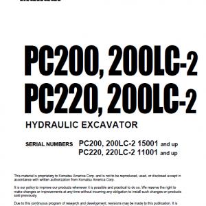 Komatsu Pc200-2, Pc200lc-2, Pc220-2, Pc220lc-2 Excavator Manual